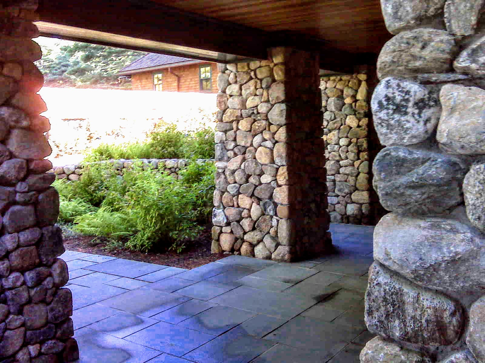 Fieldstone Stone Pillars Patio Plymouth