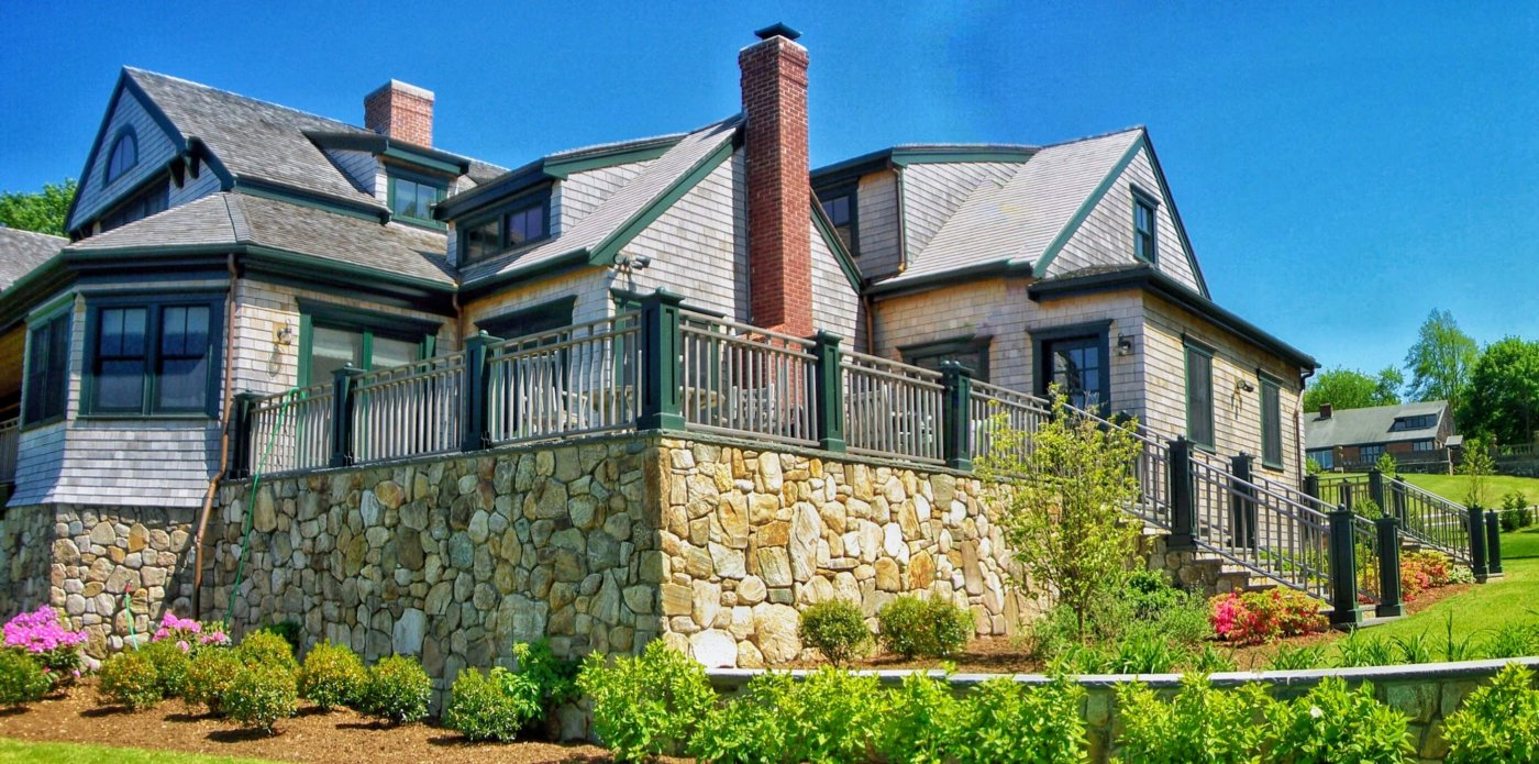 Fieldstone House Brick Chimney Stone Wall
