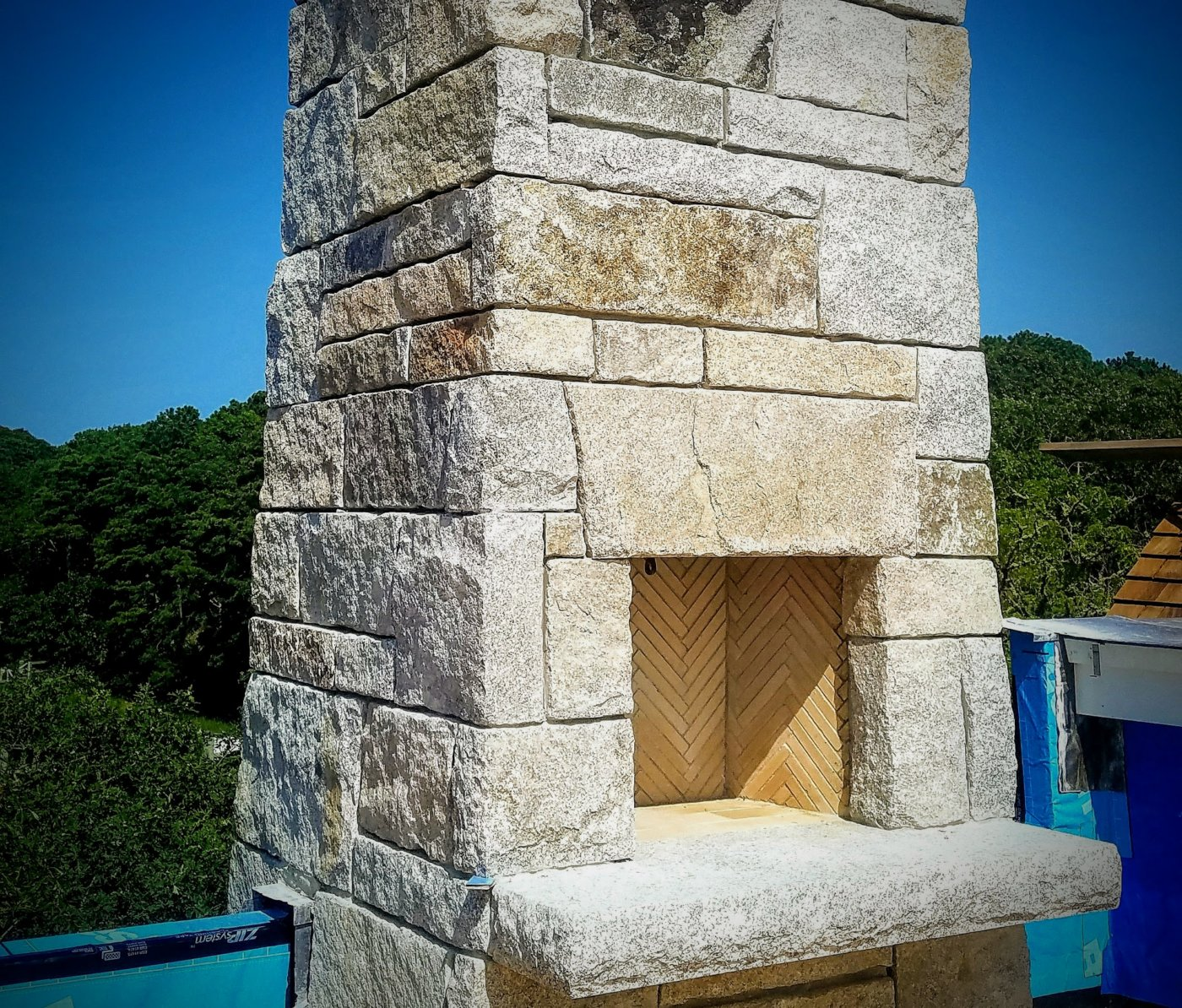 Grand Fireplace Stone Chimney Osterville Mass Mason