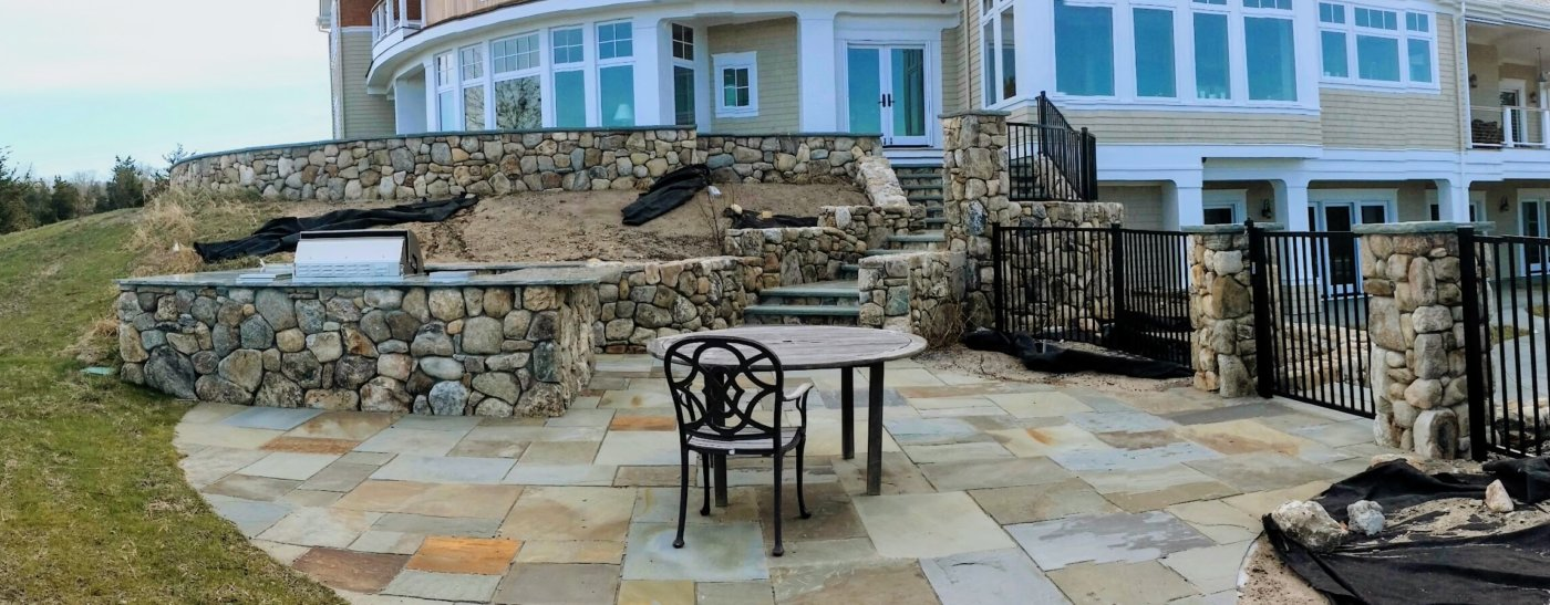 Outdoor Living Fieldstone Walls Bluestone Patio Grill Pillars Piers Caps