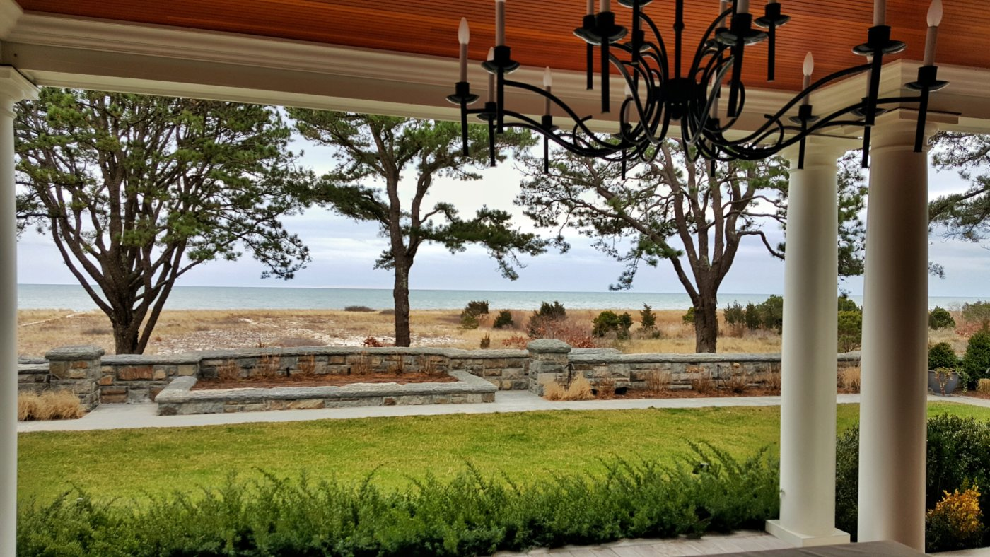 Porch Views Stone Walls Ocean Side Osterville, Mass