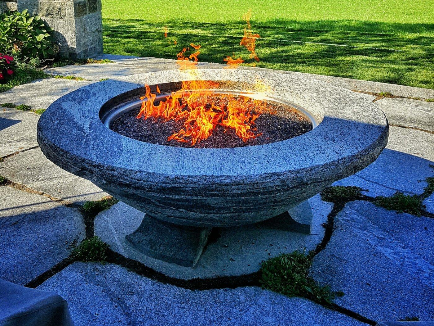 Stone Firepit Gas Cotuit Cape Cod Cornerstone