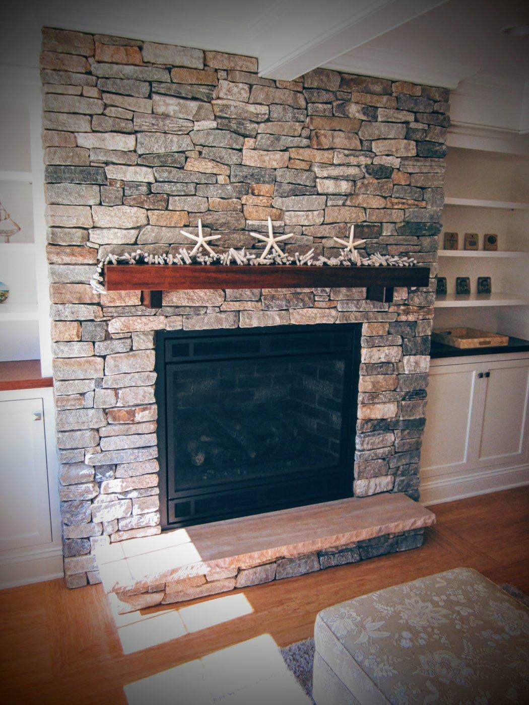 Thin Veneer Stone Fireplace Osterville, Cape Cod Cornerstone